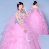 Wedding dress Autumn of 2019 Red + detachable cape headdress, sky blue + detachable cape headdress, pink + detachable cape headdress, pink dress + Cape wholesale XXL,S,M,L,XL Sweet Bandage seaside beach Deep collar V Netting Three dimensional cutting middle-waisted 18-25 years old flower Large size
