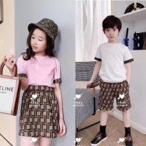 T-shirt White short sleeve T-shirt , Pink Short Sleeve T-Shirt , skirt , shorts Other / other 90cm,100cm,110cm,120cm,130cm,140cm,150cm,160cm currency cotton letter Cotton 100%
