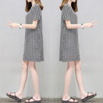 Dress Summer 2021 Picture color S,M,L,XL,2XL,3XL singleton  Short sleeve commute V-neck Loose waist routine Others Korean version