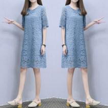 Dress Summer 2021 Blue, pink S,M,L,XL,2XL,3XL,4XL singleton  Short sleeve commute Crew neck Loose waist Socket routine Others Korean version