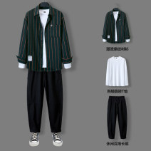 Leisure sports suit autumn M L XL 2XL 3XL Df160 / grey + black df160 / grey + Khaki df160 / dark green + black df160 / dark green + Khaki Long sleeves Han lichen trousers teenagers shirt 906H-DF160 polyester cotton Autumn 2020 polyester cotton