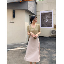 skirt Summer 2021 S,M,L Black, green, apricot longuette High waist A-line skirt Solid color Type A 18-24 years old ZZH906048 30% and below