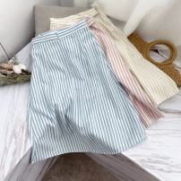 skirt Autumn 2020 S, M Apricot, blue, pink Short skirt commute High waist A-line skirt stripe Type A 18-24 years old XH509150 30% and below other other Korean version