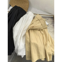 skirt Spring 2021 S,M,L Apricot skirt, white skirt, black skirt Mid length dress fresh High waist A-line skirt Solid color 18-24 years old ZZHVP906264 30% and below other cotton