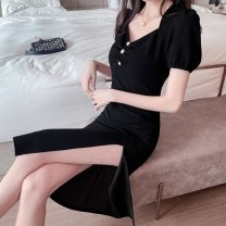 Dress Summer 2020 black S M L Miniskirt singleton  Short sleeve commute High waist Solid color Hanging neck style 18-24 years old Beautiful and beautiful Korean version Button More than 95% other Other 100% Pure e-commerce (online only)