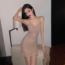 Dress Spring 2021 Nude color S,M,L Short skirt singleton  Sleeveless commute V-neck High waist zipper Ruffle Skirt camisole 18-24 years old Other / other Korean version bow polyester fiber