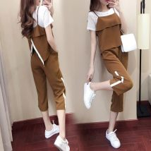 Casual suit Summer of 2018 Khaki (three piece set) high quality no pilling black (three piece set) high quality no pilling single white T-shirt bean green (three piece set) high quality no pilling S M L XL XXL XXXL 18-25 years old 96% and above