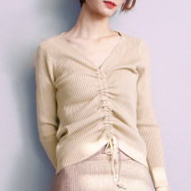 Wool knitwear Average code Fall of 2018 Light khaki green white black light purple ginger yellow Long sleeve Sleeve Conventional models Single conventional Commuting Self-cultivation conventional Pure color V collar other above 95 Korean version Sleeve Weaving autumn 18-24 years old Tie