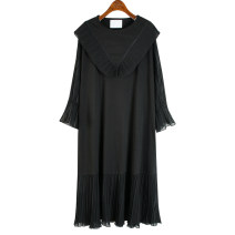 Dress Summer 2021 black Average size Mid length dress singleton  Long sleeves commute Loose waist Solid color Socket routine 25-29 years old Korean version Lace, stitching 51% (inclusive) - 70% (inclusive) cotton