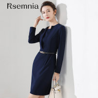 Dress Spring 2021 Navy Dress with 30 coupons and 50 coupons S,M,L,XL,2XL Mid length dress Crew neck zipper Type X Rsemnia N012006S