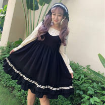 Women's large Autumn of 2019 Black OP, lotus pink OP, black jsk, lotus pink jsk Large XL, 2XL, 3XL, 4XL Dress Fake two pieces Sweet easy thick Socket Long sleeves Solid color square neck routine Polyester, polyester, acetate fiber fold Princess sleeve belt Short skirt Princess Dress Lotus leaf edge