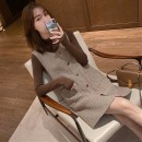 Dress Winter 2020 Brown base coat + coffee plaid skirt S,M,L,XL Middle-skirt Two piece set Long sleeves commute Half high collar High waist Solid color Single breasted A-line skirt routine straps Type A Korean version