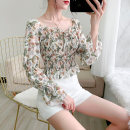 Lace / Chiffon Autumn 2020 1, 2, 3, 4, 5, 6 S M L XL Long sleeves commute Socket singleton  Self cultivation Regular One word collar Decor pagoda sleeve 25-29 years old Cherry petals printing Triacetate 95% others 5% Pure e-commerce (online only)