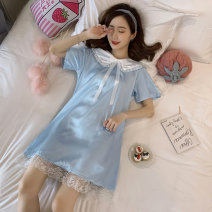 Nightdress Wen fan M L XL XXL Sweet Middle sleeve pajamas Middle-skirt summer heart-shaped youth Small lapel Polyester (polyester) printing More than 95% Iced silk Mbn-609 × White 2 200g Summer of 2019 Polyester 95% polyurethane elastic fiber (spandex) 5% Pure e-commerce (online only)