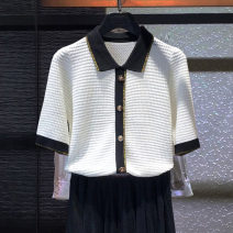 T-shirt White, black 2 / s, 3 / m, 4 / L, 5 / XL Spring 2021 Short sleeve Polo collar Self cultivation Regular routine commute polyester fiber 51% (inclusive) - 70% (inclusive) Simplicity classic Color matching Pinge Dixin Button, hollow out