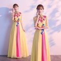 Dress / evening wear Company annual meeting performance Tailor made s ml XL XXL 3XL 4XL yellow grace longuette middle-waisted Autumn of 2019 Fall to the ground stand collar zipper GLL190802 flower Gelilan Other 100% Exclusive payment of tmall Non handmade flower