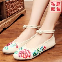 Low top shoes 34 35 36 37 38 39 40 41 Other / other Red dark blue black off white Sharp point Slope heel cloth Shallow mouth Low heel (1-3cm) cotton Spring 2017 Flat buckle ethnic style Adhesive shoes Youth (18-40 years old) middle age (40-60 years old) Plants and flowers rubber Cloth shoes cloth