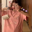 Dress Summer 2021 Pink, white S,M,L,XL Short skirt singleton  Short sleeve commute Crew neck High waist letter Socket other routine Others 18-24 years old Type A Korean version Patch, thread, print 91% (inclusive) - 95% (inclusive) other cotton