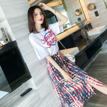 Dress Summer 2021 White + Decor S,M,L,XL,2XL longuette Two piece set Short sleeve commute Crew neck High waist Broken flowers Socket A-line skirt routine 25-29 years old Type A Other / other Korean version printing 81% (inclusive) - 90% (inclusive) Chiffon cotton