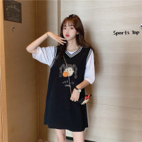 Dress Summer 2020 black S,M,L,XL longuette Two piece set Long sleeves commute V-neck Loose waist Cartoon animation Socket A-line skirt routine Others 18-24 years old Type A Korean version Fold, print 31% (inclusive) - 50% (inclusive) other cotton
