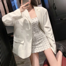 Women's large Summer 2020 S M L XL 2XL 3XL suit Two piece set commute easy moderate Cardigan Long sleeves Solid letters Korean version One word collar Medium length Polyester others Three dimensional cutting routine Zhifan 18-24 years old Button 31% (inclusive) - 50% (inclusive) Short skirt other