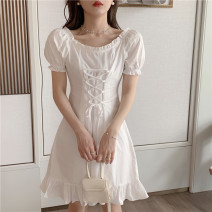 Women's large Summer 2020 White black S M L singleton  Sweet Short sleeve Solid color One word collar puff sleeve A2025 Yinlizi 18-24 years old 31% (inclusive) - 50% (inclusive) Cotton 100% Pure e-commerce (online only) Ruffle Skirt Bohemia