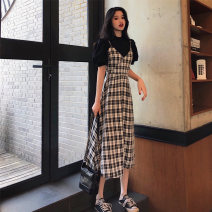 Women's large Summer 2020 [suit] black base + Plaid suspender skirt S M L XL Two piece set commute Korean version Yinlizi longuette Other 100% Pure e-commerce (online only)
