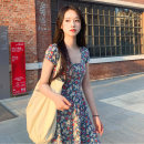 Women's large Summer 2020 Blue black Beixing S M L XL singleton  commute Short sleeve Decor Korean version square neck other routine Yinlizi 18-24 years old 71% (inclusive) - 80% (inclusive) Polyester 80% other 20% Pure e-commerce (online only)
