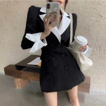 Women's large Winter 2020 Black dress S M L XL singleton  commute Long sleeves Solid color Retro routine Yinlizi 18-24 years old Short skirt Other 100% Pure e-commerce (online only)