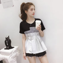 Women's large Summer 2020 S M L XL XXL commute Self cultivation Short sleeve Korean version Crew neck routine Yinlizi 18-24 years old Other 100% Pure e-commerce (online only)