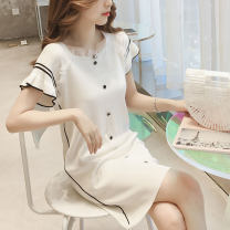 Women's large Summer 2020 Black and white S M L XL commute Short sleeve Solid color Korean version Crew neck routine Yinlizi 18-24 years old Middle-skirt Other 100% Pure e-commerce (online only)