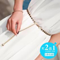 Belt / belt / chain Metal female Waist chain Sweet Single loop Youth, youth, middle age a hook 0.8cm alloy