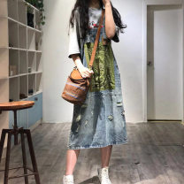 skirt Summer 2020 Average size Red, green Mid length dress Retro Natural waist Denim skirt Abstract pattern More than 95% Denim cotton