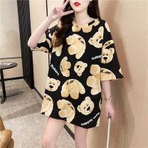 Dress Summer 2021 black M L XL Short skirt Short sleeve 18-24 years old He Baiguan More than 95% polyester fiber Polyester 95% polyurethane elastic fiber (spandex) 5%