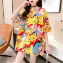 T-shirt Yellow green M L XL XXL Summer 2021 Short sleeve Crew neck easy Medium length routine commute polyester fiber 86% (inclusive) -95% (inclusive) 18-24 years old Korean version youth He Baiguan J109 Polyester 95% polyurethane elastic fiber (spandex) 5% Exclusive payment of tmall