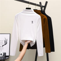 T-shirt Coffee black white M L XL XXL Spring 2020 Long sleeves Half high collar Self cultivation Regular routine commute polyester fiber 86% (inclusive) -95% (inclusive) 18-24 years old Korean version youth He Baiguan Polyester 95% polyurethane elastic fiber (spandex) 5% Exclusive payment of tmall