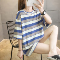 T-shirt M L XL Summer 2020 Short sleeve Crew neck easy Medium length routine commute polyester fiber 86% (inclusive) -95% (inclusive) 18-24 years old Korean version youth He Baiguan 5164-1 Polyester 95% polyurethane elastic fiber (spandex) 5% Pure e-commerce (online only)