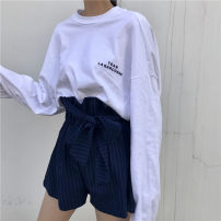 T-shirt White black M L XL Autumn of 2018 Long sleeves Crew neck easy Medium length routine commute polyester fiber 86% (inclusive) -95% (inclusive) 18-24 years old Korean version originality Alphanumeric solid color mosaic He Baiguan 3311-1 Print stitching Pure e-commerce (online only)