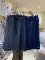 skirt Summer 2020 M, L Black, purple, apricot, dark blue, light blue Mid length dress Retro High waist A-line skirt Solid color Type A More than 95% other hemp Bowknot, pocket, lace up, stitching