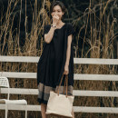 Dress Summer 2021 black Average size Mid length dress singleton  Short sleeve commute square neck Loose waist Solid color Socket Big swing routine Others 35-39 years old Type A Meaningless literature Splicing 20190516T 51% (inclusive) - 70% (inclusive) other hemp