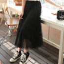 skirt Summer of 2019 M L Mid length dress Versatile High waist Cake skirt Solid color Type A 18-24 years old B001 skirt More than 95% True tree deer polyester fiber 3-D lace stitching with flounce cut-out pleating and crochet cut-out gauze mesh Polyester 100% Pure e-commerce (online only)