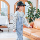 suit Basil bean [delivery about 10 days after pre-sale Payment] letter empty sweater + denim suspenders (two-piece set) 130cm 140cm 150cm 160cm 170cm female spring and autumn Korean version Long sleeve + pants 2 pieces routine There are models in the real shooting Socket nothing Solid color other