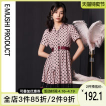 Dress Summer 2020 S M L XL Mid length dress singleton  Short sleeve commute V-neck middle-waisted Dot Socket Pleated skirt routine Others 25-29 years old Yi Mu's Poems lady Bow fold bandage More than 95% polyester fiber Polyester 100% Pure e-commerce (online only)