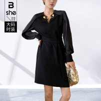Women's large Spring 2021 black Large L Large XL Large 2XL large 3XL large 4XL large 5XL Dress singleton  street Self cultivation moderate Socket Long sleeves other Polyester others Three dimensional cutting routine Binghan clothing house 35-39 years old Middle-skirt Pure e-commerce (online only)