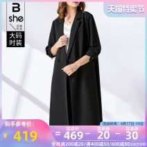 Women's large Spring 2021 black Jacket / jacket singleton  street easy moderate Cardigan three quarter sleeve Solid color other Medium length polyester Three dimensional cutting routine Binghan clothing house 35-39 years old Button Polyethylene terephthalate (polyester) 100% Europe and America