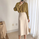 skirt Summer 2020 S M L Bean green apricot black Mid length dress commute High waist A-line skirt Solid color Type A 25-29 years old U21115F More than 95% UFP other Pleated zipper Retro Other 100% Pure e-commerce (online only)