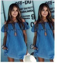 Dress Summer 2017 blue S,M,L,XL Short skirt singleton  Sleeveless commute One word collar middle-waisted Solid color Socket A-line skirt routine Type H Other / other Ol style Pockets, stitching 51% (inclusive) - 70% (inclusive) Denim cotton