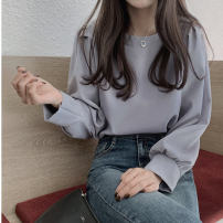 T-shirt Blue apricot S M L XL 2XL Autumn 2020 Long sleeves Crew neck easy Regular routine commute other 96% and above 18-24 years old Korean version originality Mi Jiaqi Other 100%