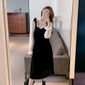Dress Autumn 2020 Lace Top + suspender skirt S M L XL longuette Two piece set Long sleeves commute Crew neck High waist Solid color Socket A-line skirt routine camisole 18-24 years old Type A Geessoew / geese Korean version Splicing 6811 in stock More than 95% other other Other 100%