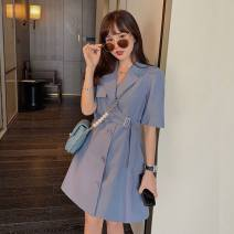 Women's large Summer 2021 blue L XL S M Dress singleton  commute Self cultivation Cardigan Short sleeve Solid color Korean version Polo collar other routine QW3 Geessoew / geese 18-24 years old Middle-skirt Other 100% Pure e-commerce (online only) other